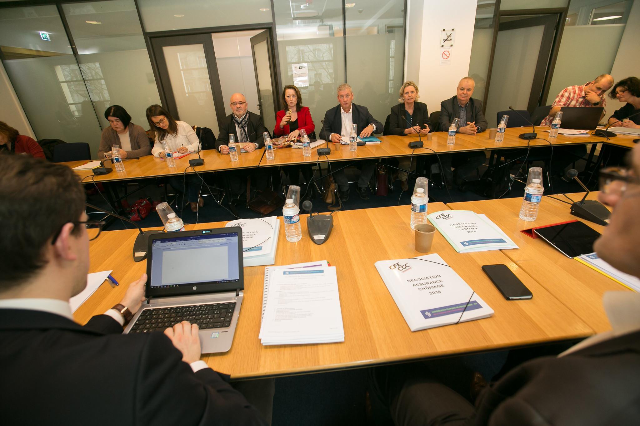 La délégation FO à la séance de négociation sur l'assurance chômage au siège du MEDEF à Paris, le 18 janvier 2018.